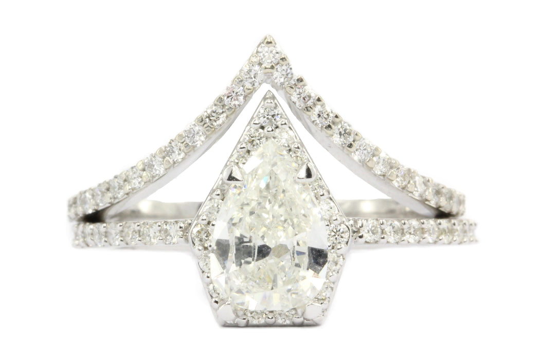14K White Gold Pear Diamond Halo Engagement Ring w/ Matching Jacket Band Set - Queen May