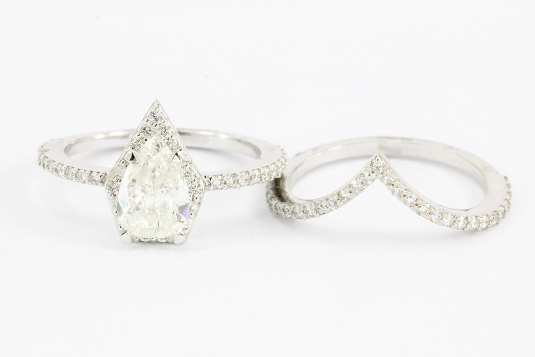 14K White Gold Pear Diamond Halo Engagement Ring w/ Matching Jacket Band Set
