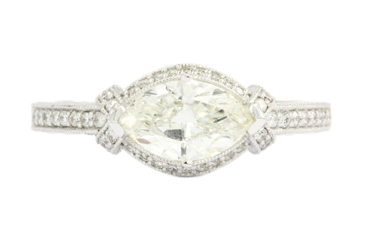 14K White Gold 1 Carat East West Set Marquise Diamond Engagement Ring GIA Cert - Queen May