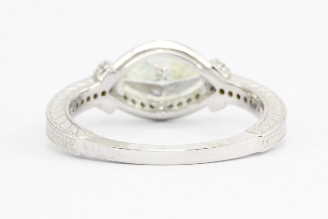 14K White Gold 1 Carat East/West Set Marquise Diamond Engagement Ring GIA Cert