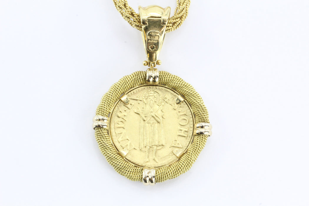 Vintage 18K Gold Ronco & Givori Italy Necklace & Pendant Set w/ .999 Gold Florin - Queen May
