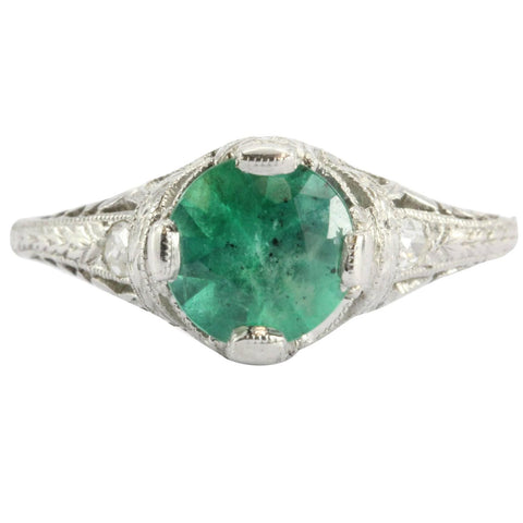 Antique Art Deco Platinum 1.15 Carat Emerald & Diamond Accent Engagement Ring