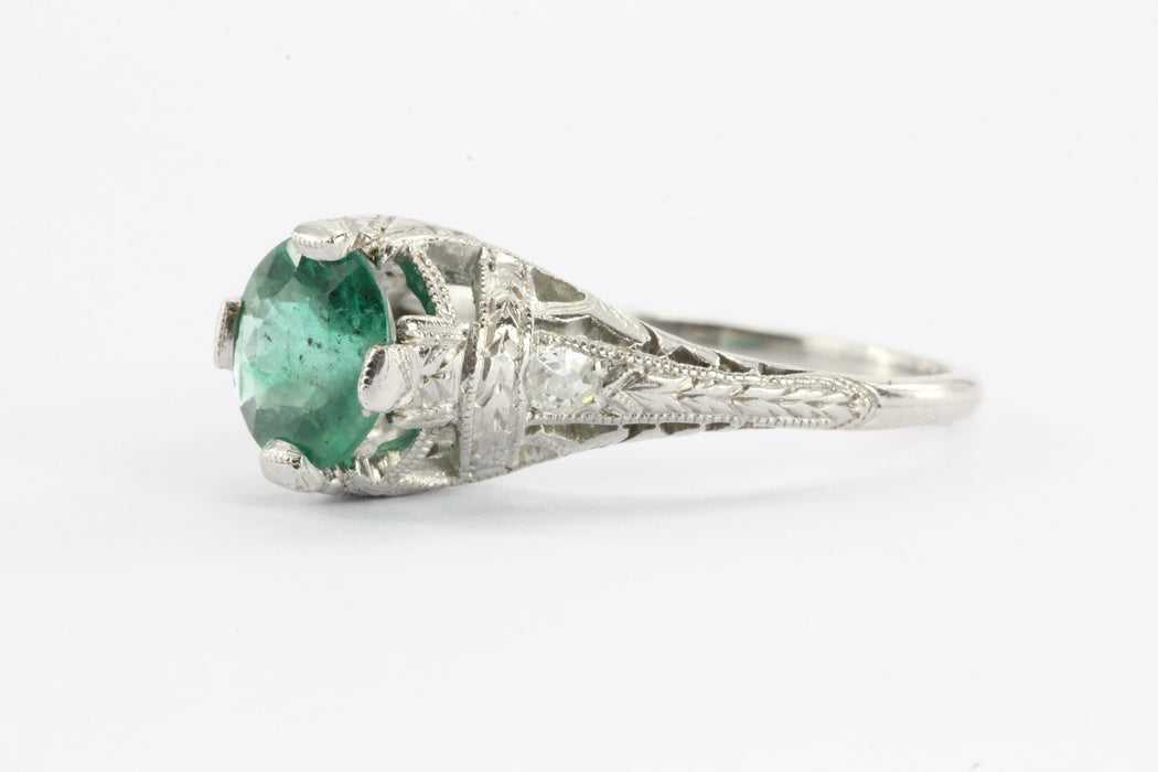 Antique Art Deco Platinum 1.15 Carat Emerald & Diamond Accent Engagement Ring - Queen May
