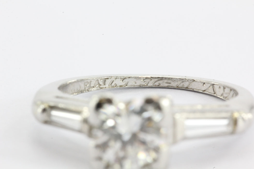 Art Deco Platinum 1.05 TCW Diamond Engagement Ring - Queen May