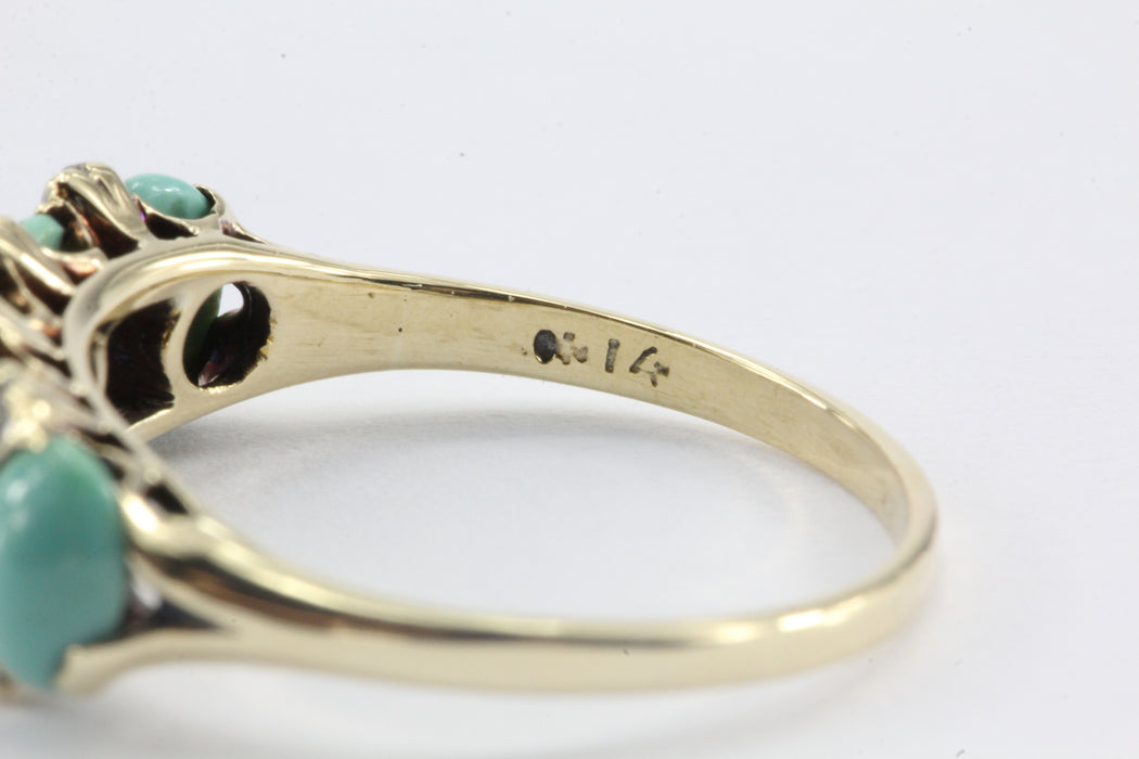 Victorian 14K Gold Old Mine Diamond & Persian Turquoise Ring c.1890 - Queen May