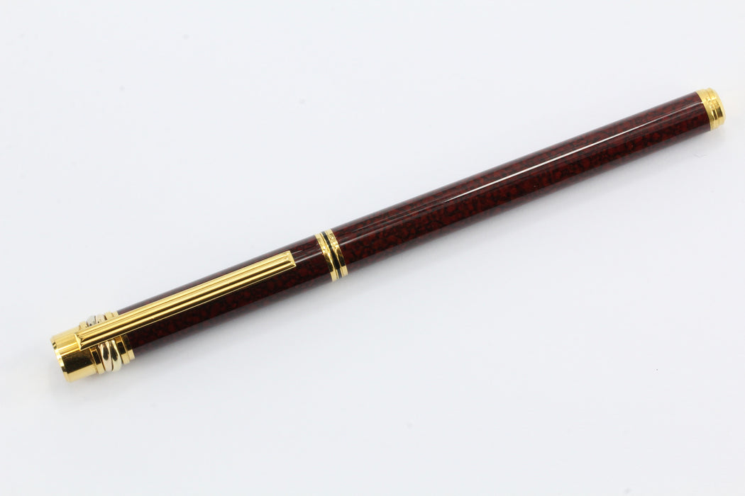 Cartier Le Must Gold Tone Burgundy Lacquer Pen - Queen May