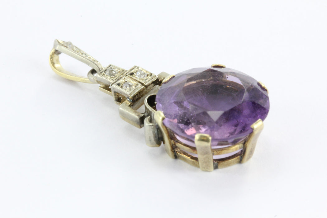 Antique Austrian Art Deco 14K Gold 8 Carat Amethyst & Diamond Pendant - Queen May
