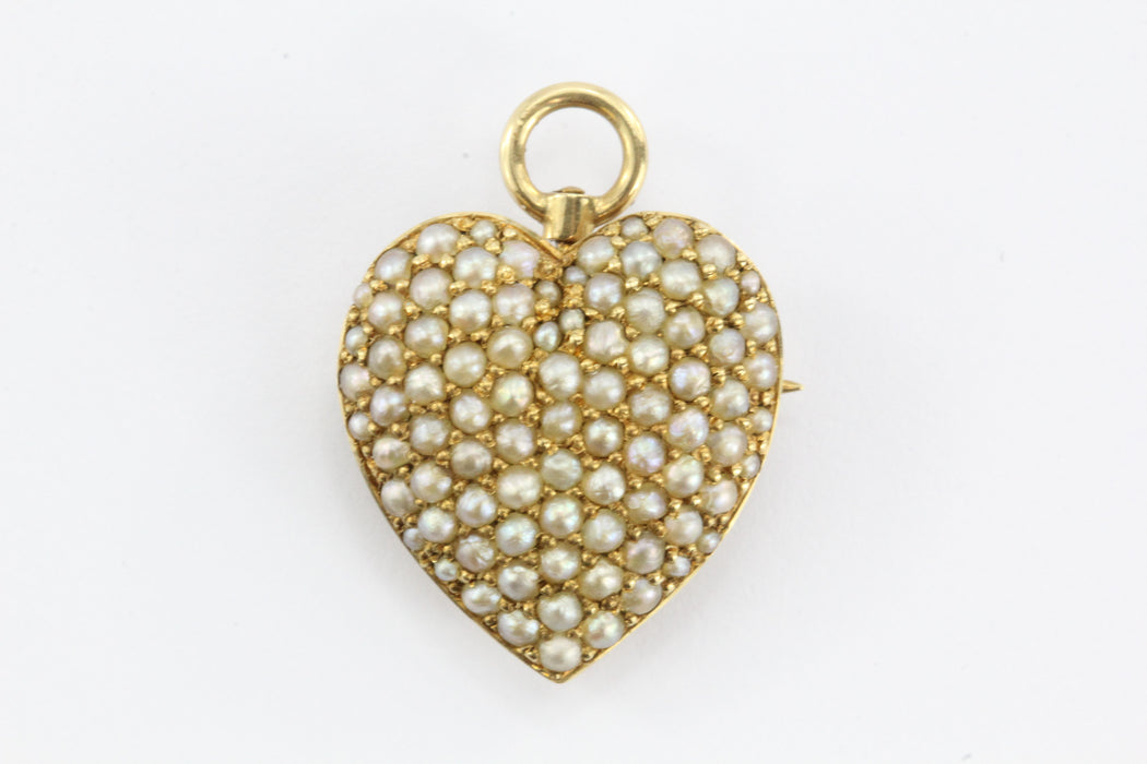 Antique Art Nouveau 14K Gold & Seed Pearl Studded Heart Pendant, Pin Hallmarked - Queen May