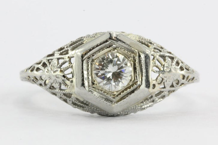 Antique Art Deco 18K White Gold Transition Cut Diamond Engagement Ring - Queen May