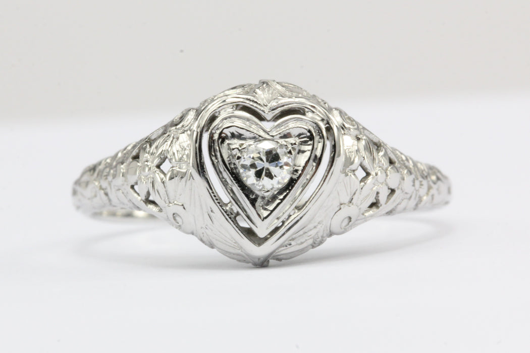 Art Deco Heart Set 18k White Gold Old European Cut Diamond Engagement Ring - Queen May