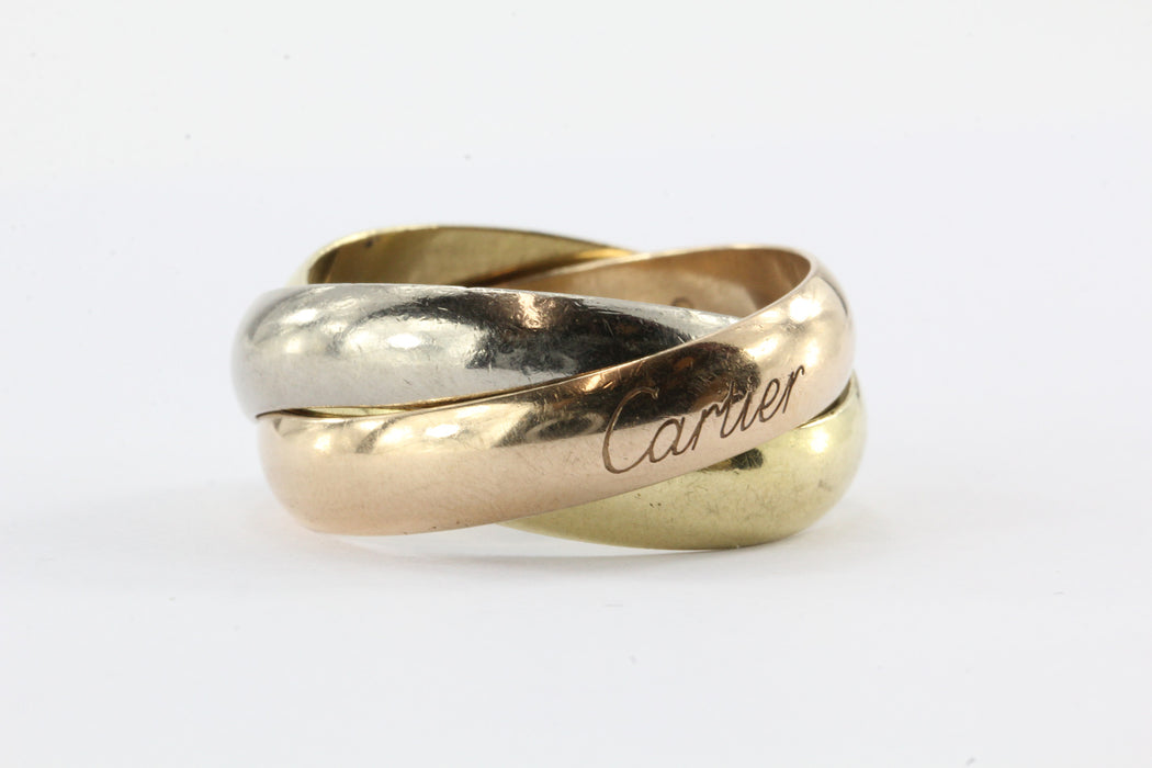 Cartier 18K Tri Color Trinity Ring Size 11 - Queen May