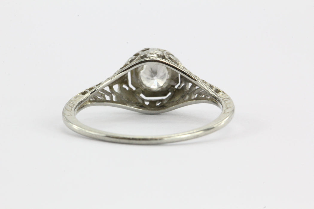 Antique Art Nouveau 18K White Gold Diamond Engagement Ring