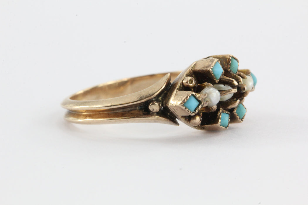 Victorian 9ct gold Seed Pearl & Persian Turquoise Ring - Queen May