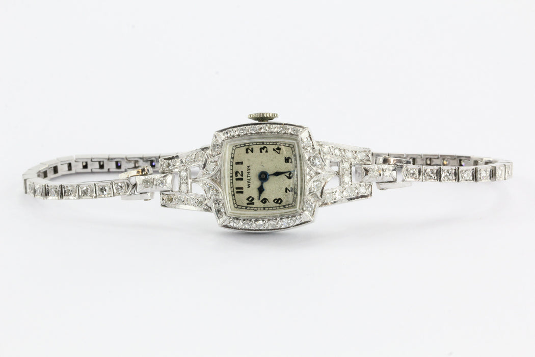 Antique Art Deco Platinum & 14K White Gold Diamond 17 Jewel Waltham Watch