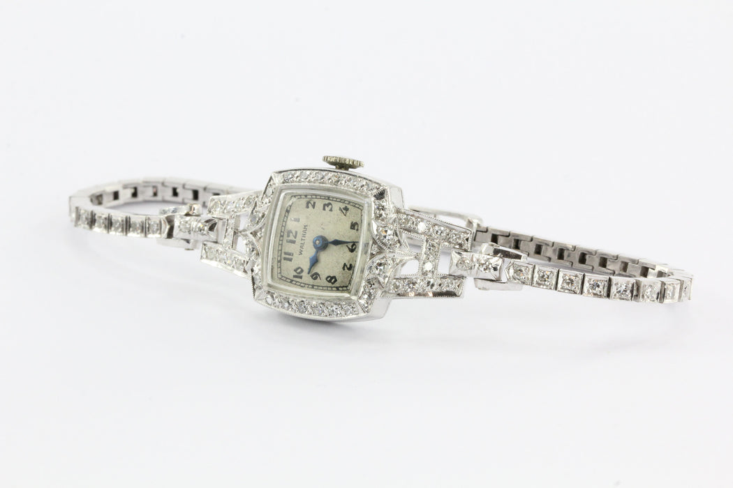 Antique Art Deco Platinum & 14K White Gold Diamond 17 Jewel Waltham Watch - Queen May