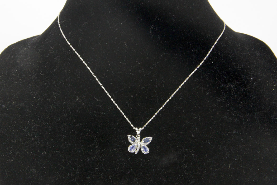 14k White Gold Sapphire & Diamond Butterfly Pendant Necklace