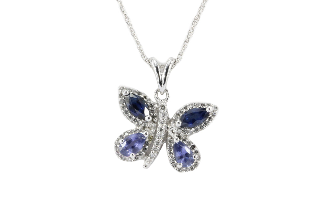 14k White Gold Sapphire & Diamond Butterfly Pendant Necklace - Queen May