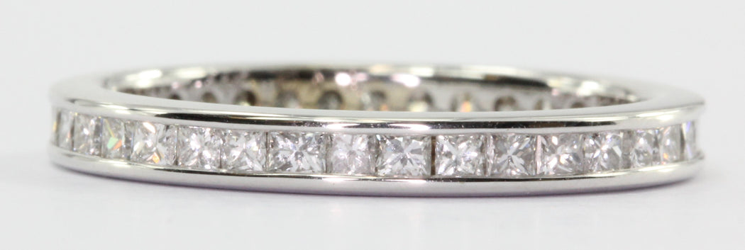 14K White Gold 1 CTW Princess Cut Diamond Eternity Band Ring Size 6 - Queen May