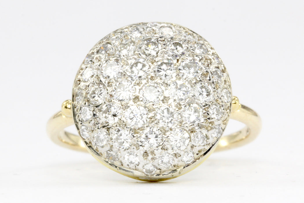 14K Gold Pave Set Diamond Button Ring 1/2 CTW