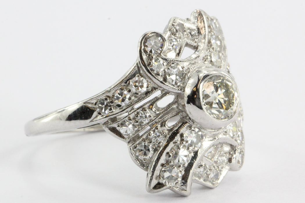 Art Deco Diamond & Platinum Engagement Ring .60 Old European Center - Queen May