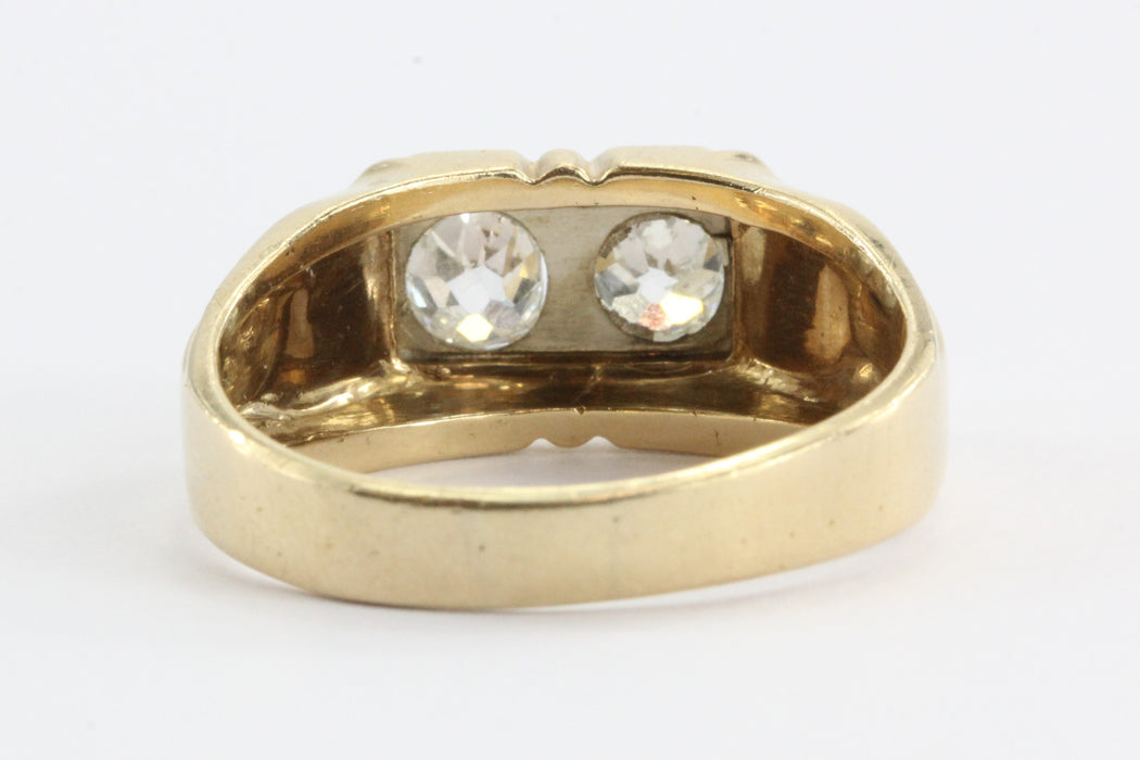 Art Deco Twin Old Mine Cut Diamonds 1.2 CTW 14K Gold Ring - Queen May