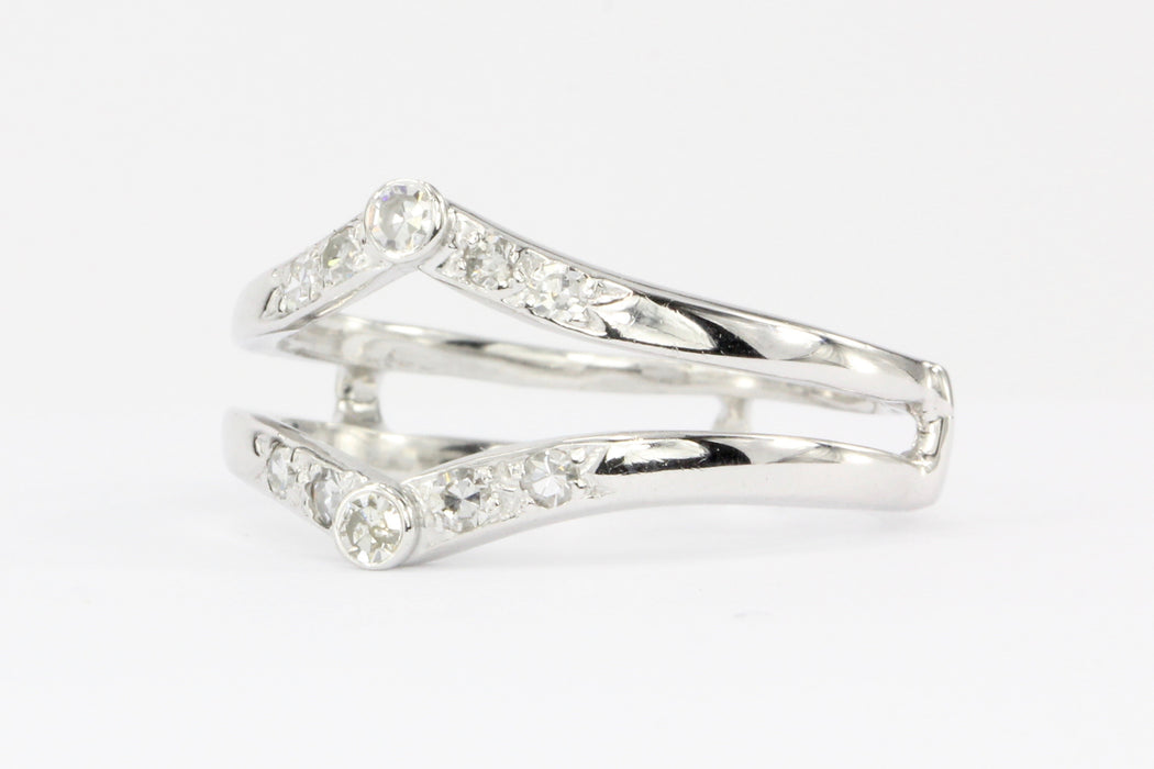 14k White Gold Single Cut Diamond Jacket Ring - Queen May