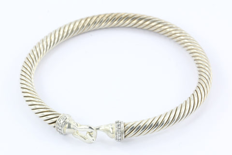 David Yurman Sterling Silver Diamond Cable Hook 5mm Bangle Bracelet
