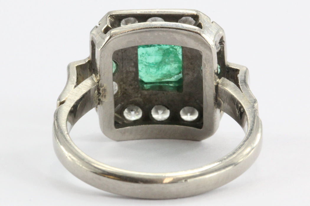 Art Deco Platinum Emerald & Diamond Ring - Queen May