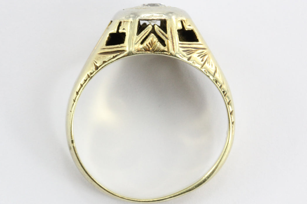 Antique 14K White & Yellow Gold Art Deco Old European Diamond Ring - Queen May
