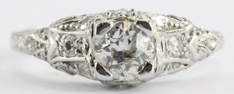 Antique Platinum Old European Cut Diamond Cathedral Set Engagement Ring Signed