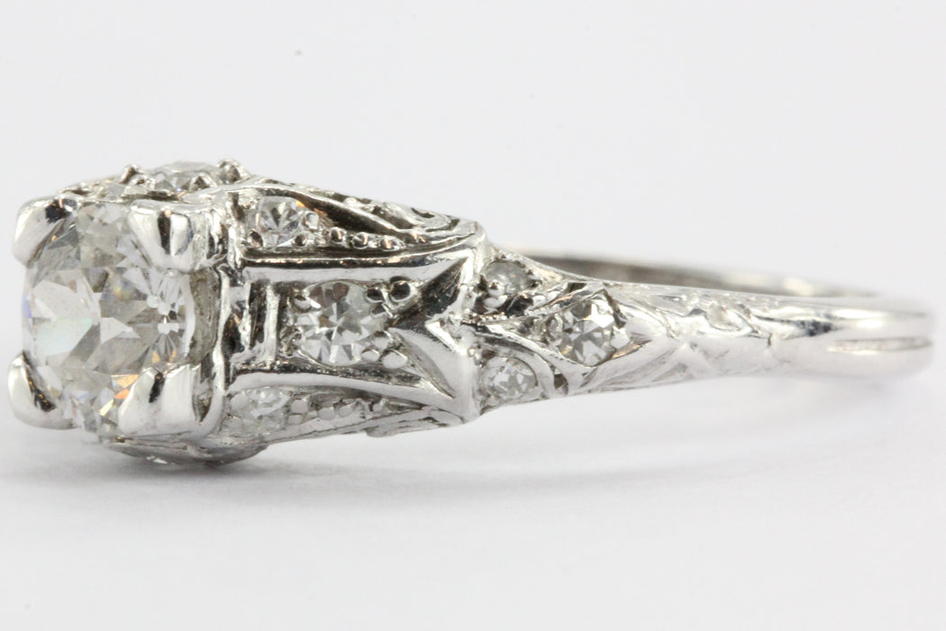 Antique Platinum Old European Cut Diamond Cathedral Set Engagement Ring Signed - Queen May