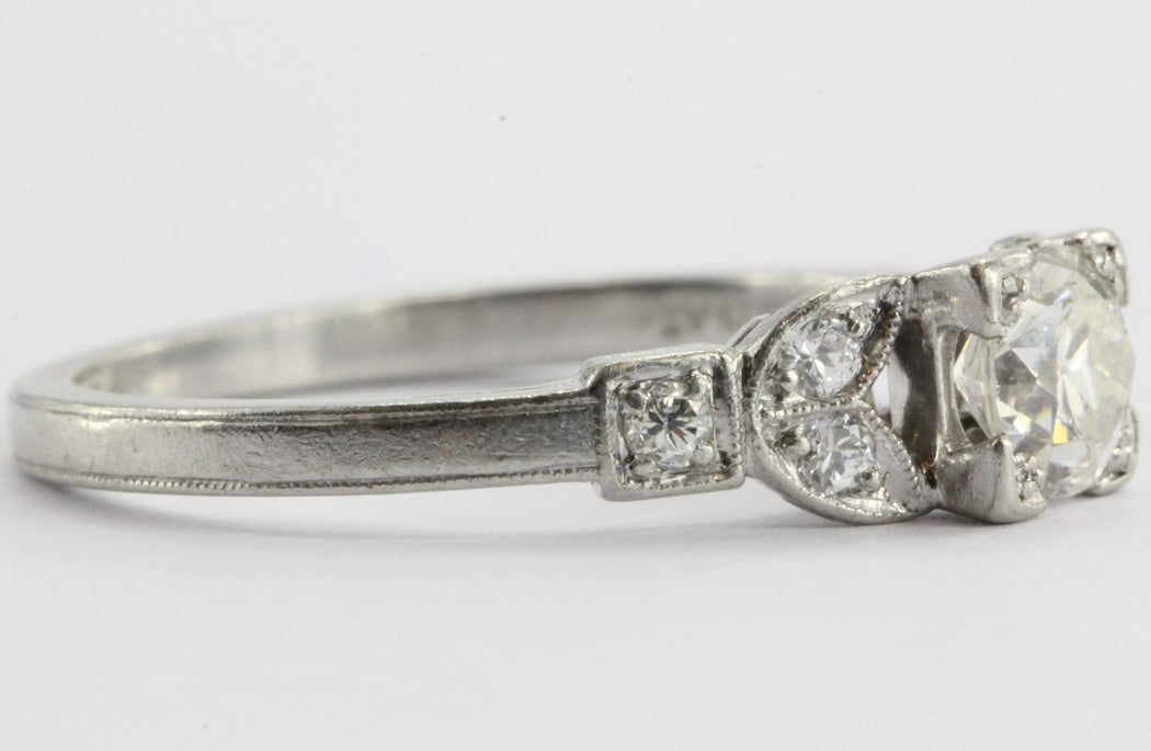 Art Deco Platinum Old European Cut Diamond Engagement Ring - Queen May