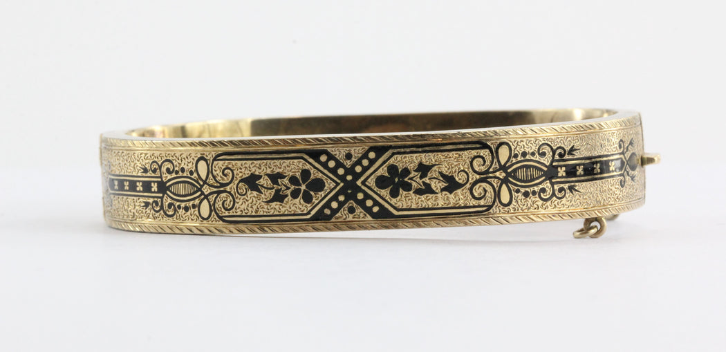 Pair of Matching Antique Victorian Enamel 14K Gold Bangle Bracelets - Queen May