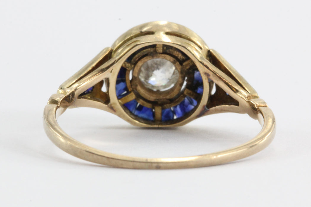 Art Deco Diamond and Calibre Blue Sapphire 18K Gold and Platinum Engagement Ring - Queen May