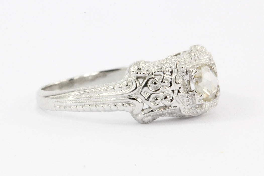 18K White Gold Rose Cut Diamond Edwardian Style Engagement Ring