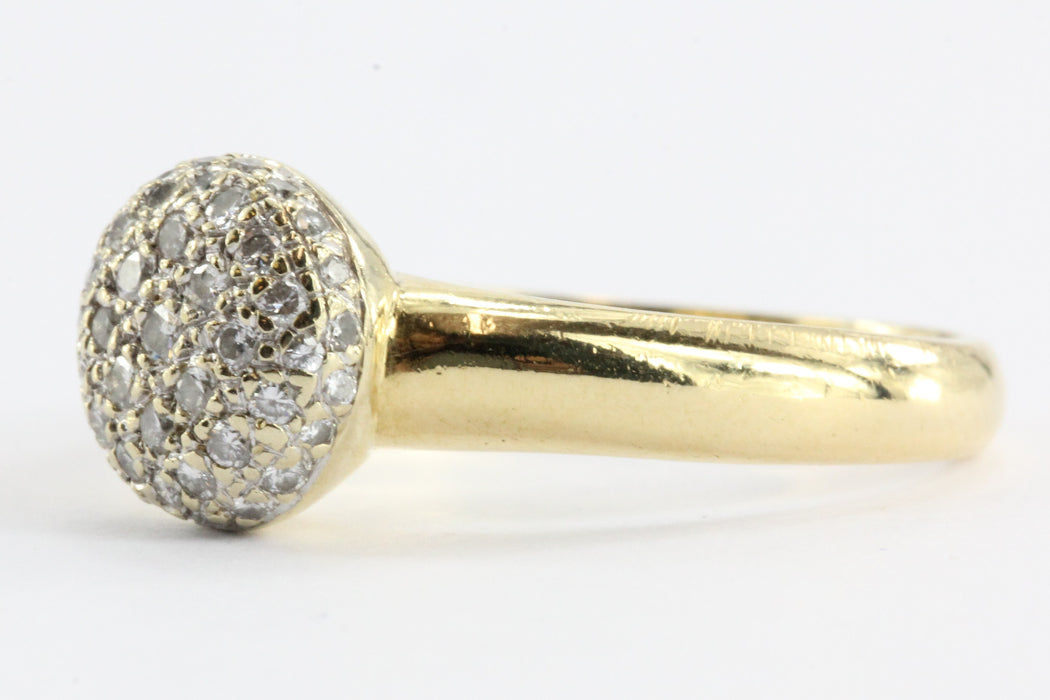 Vintage 18k Gold & Diamond Pave Cluster Ring 1/2 CTW