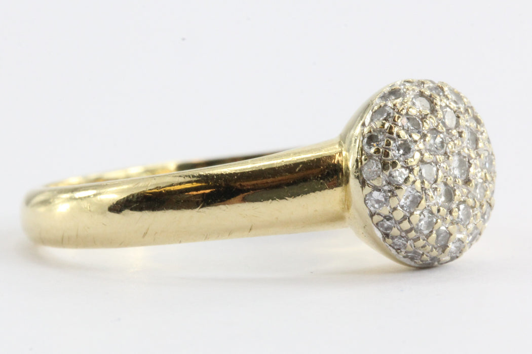 Vintage 18k Gold & Diamond Pave Cluster Ring 1/2 CTW - Queen May