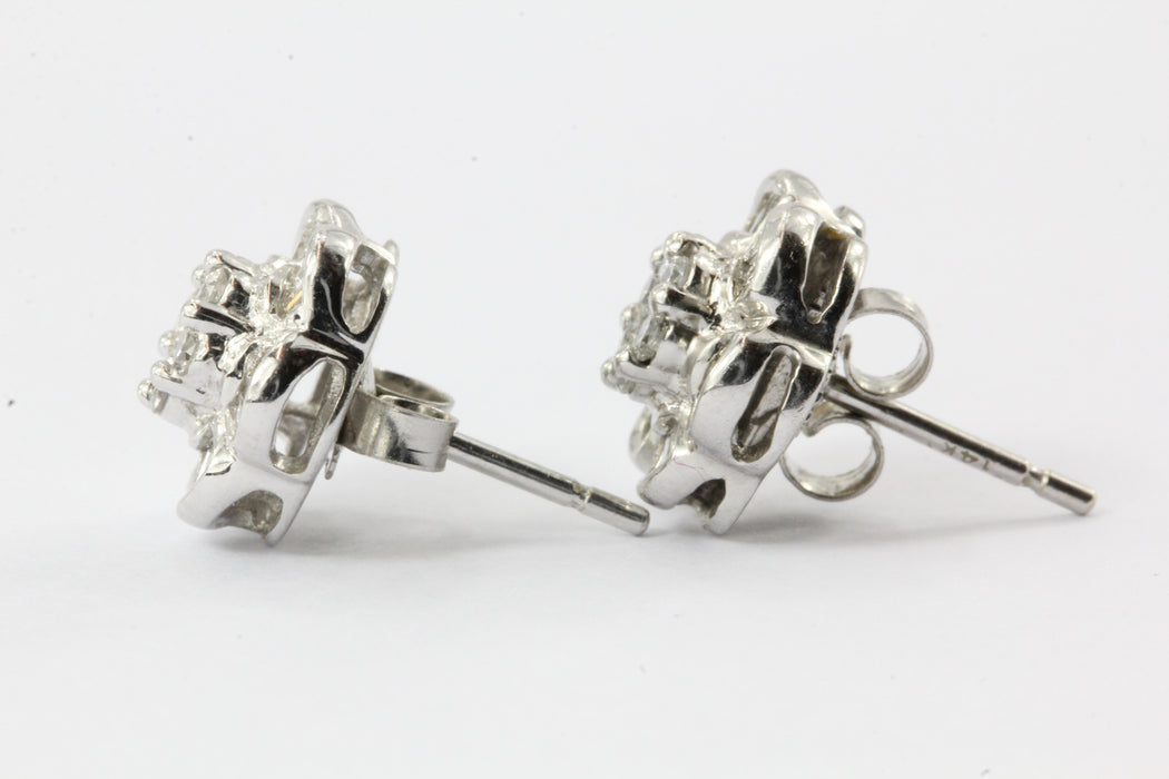 14K White Gold 1.25CTW Diamond EFFY Floral Earrings Posts - Queen May