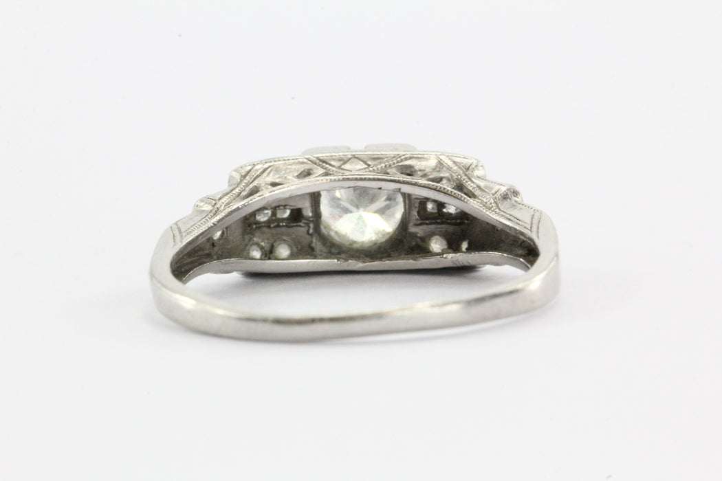 Antique Art Deco Platinum & Transition Cut Diamond Engagement Ring - Queen May