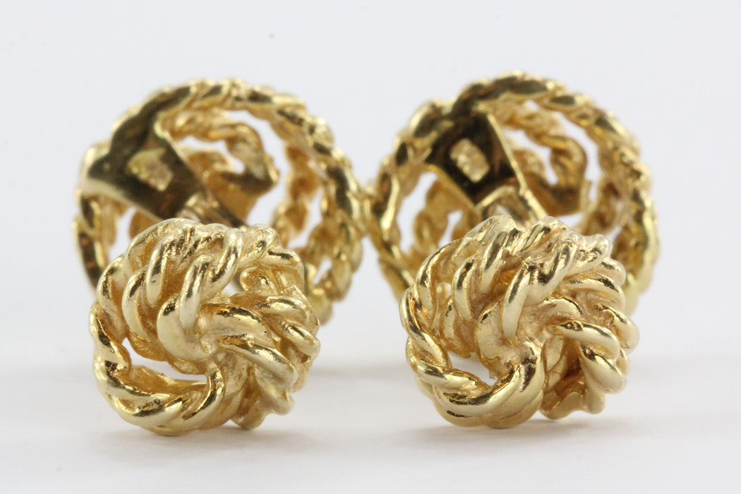 Vintage Twisted Knot Rope 14K Cufflinks