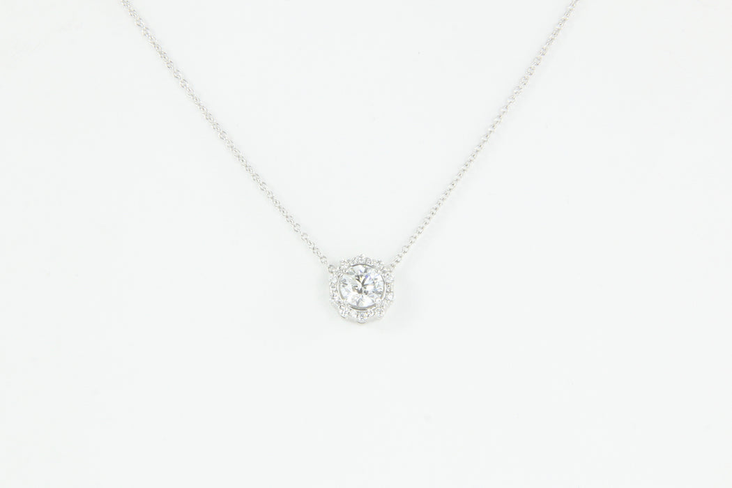 18K White Gold 1 Carat Diamond Halo Pendant Necklace 1.2 CTW