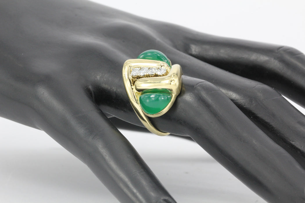Modernist 18k Gold Diamond Green Chrysoprase Ring - Queen May