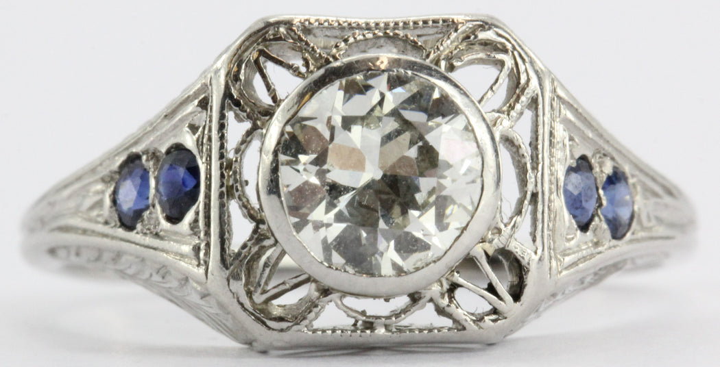 Art Deco 1.04 Ct VVS2 J Old European Diamond Sapphire Platinum Engagement Ring - Queen May