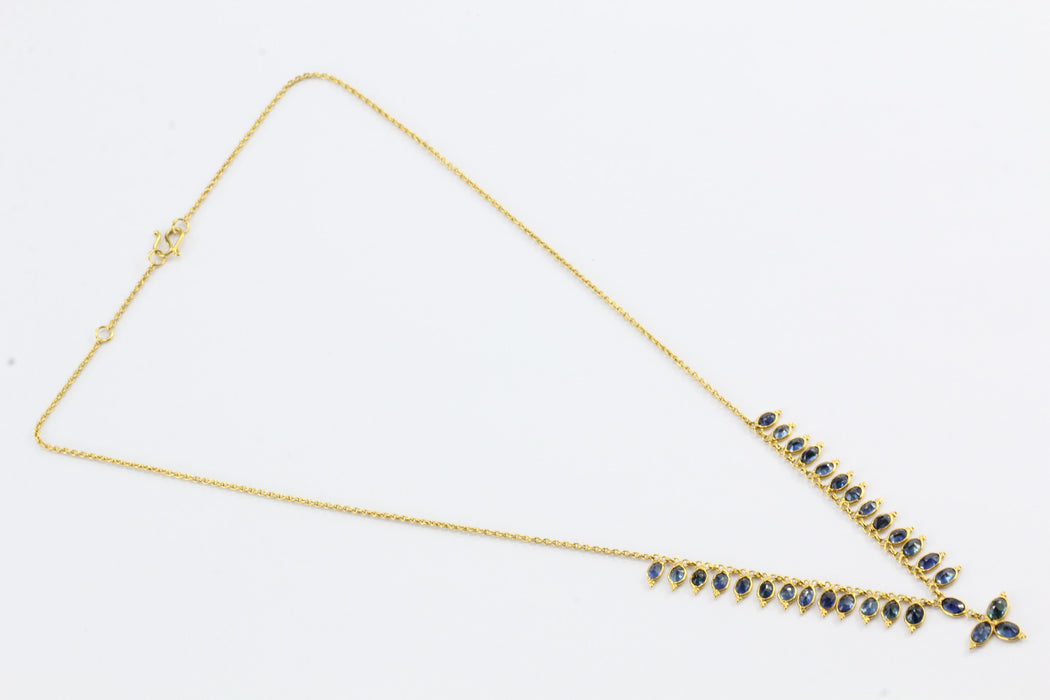 18K Gold 2.5 CTW Natural Blue Sapphire Necklace