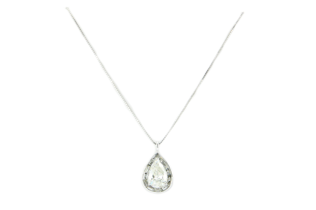 18K White Gold 3.5 Carat Diamond Baguette Halo Pendant Necklace 5 CTW