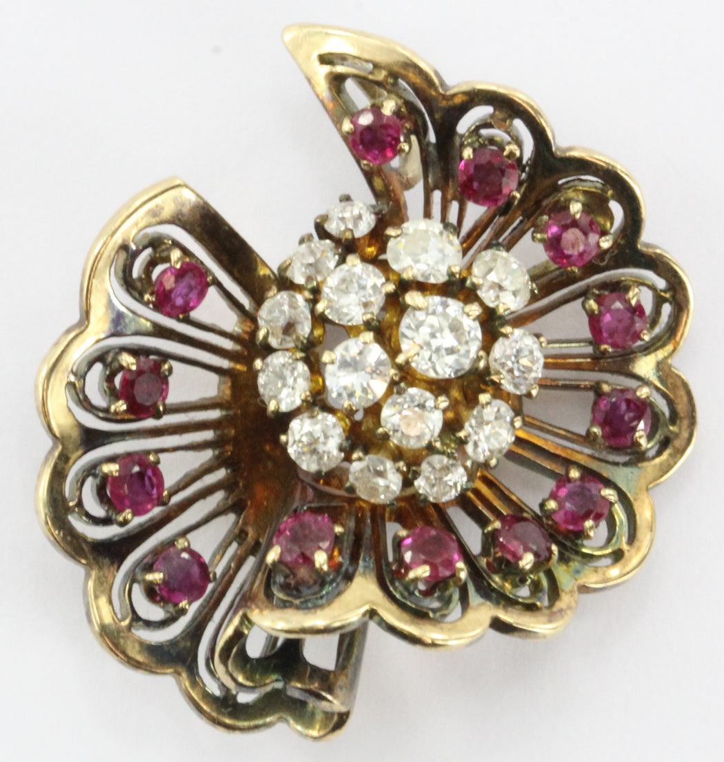 Vintage Hollywood Regency 14K Rose Gold Diamond & Ruby Fan Pendant - Queen May