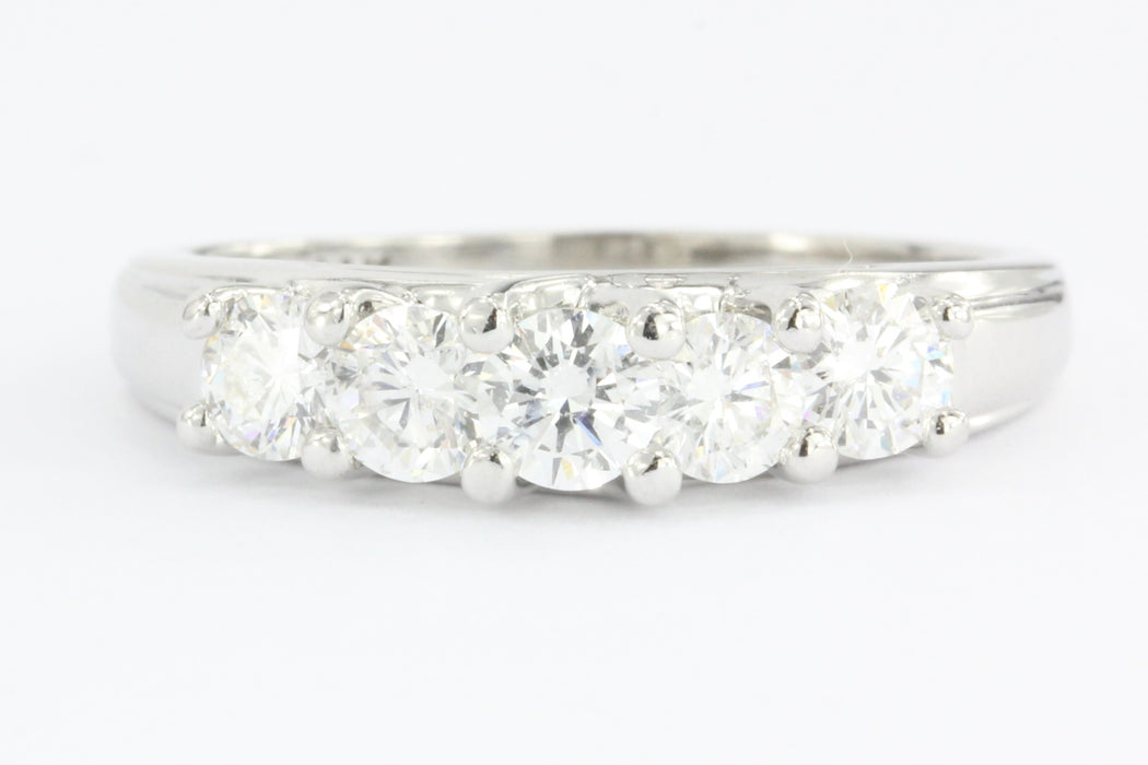 14K White Gold 5 Stone 1 CTW Diamond Anniversary Band Cathedral Set Size 7.75