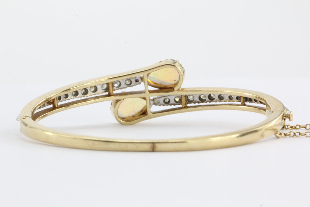 Casbah 14K Gold Diamond & Translucent Opal Bangle Bracelet - Queen May