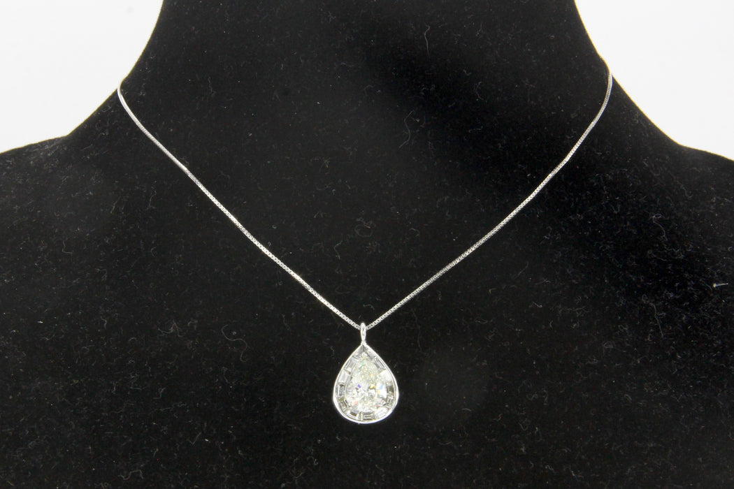 18K White Gold 3.5 Carat Diamond Baguette Halo Pendant Necklace 5 CTW - Queen May