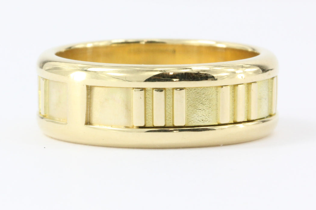 Tiffany & Co 18k Gold Atlas Collection 7mm Band Ring Size 7 - Queen May